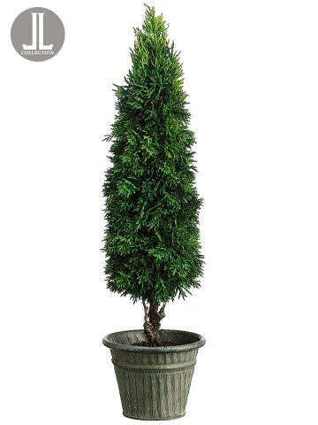 Cedar Ball Round Topiary in Pot by Silk Flower Depot