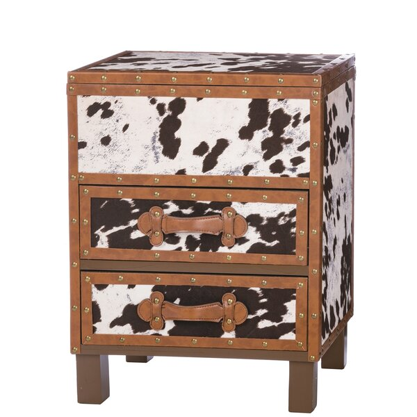 Odea Cowhide 2 Drawer Accent Chest by Loon Peak