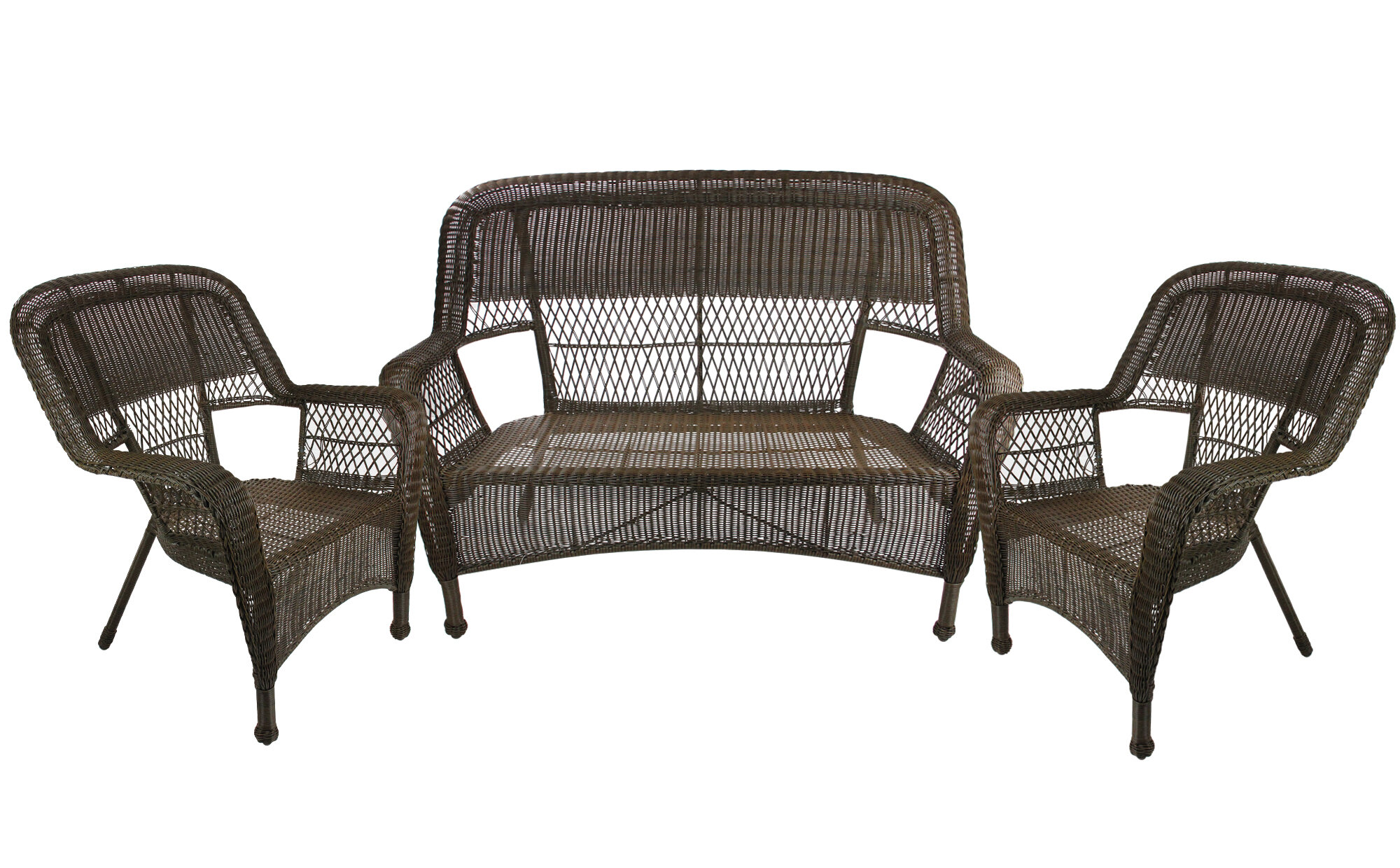 Darby Home Co Jacque Outdoor Patio Furniture 3 Piece Sofa Seating