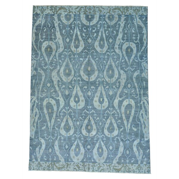 One-of-a-Kind Dipasquale Ikat Uzbek Oriental Hand-Knotted Gray Area Rug by World Menagerie