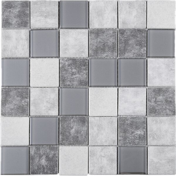 Recycle 2 x 2 Mixed Material Tile in Gray/Beige by Multile