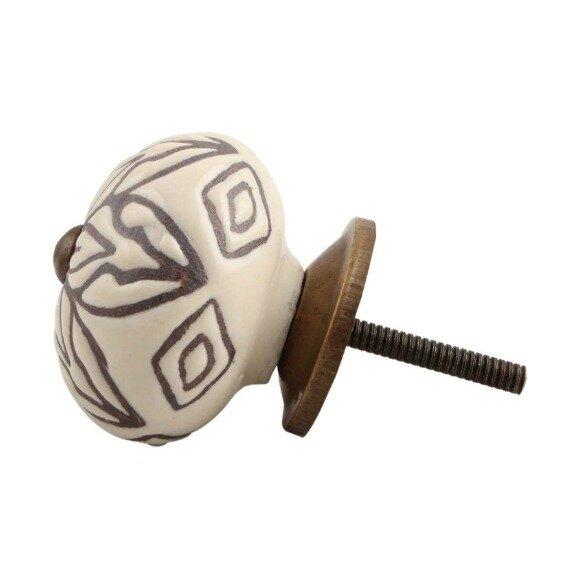 Handpainted Etched Ceramic Drawer Round Knob by MarktSq