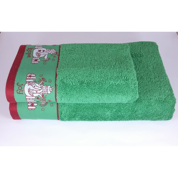 Joy Hope Peace 2 Piece Turkish Cotton Towel Set by Enchante Home