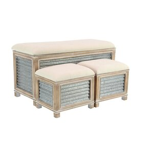Wiggins Farmhouse Upholstered Storage 3 Piece Bench Set by Gracie Oaks