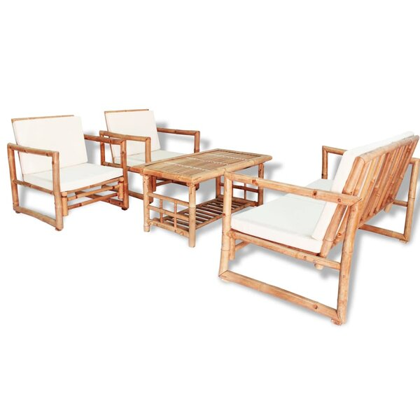 Esther 4 Piece Garden Lounge Set With Cushions Bamboo by Bayou Breeze