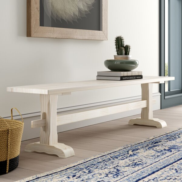 Lynn Trestle Wood Bench By Mistana Best #1