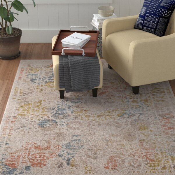 Holmes Distressed Cream/Taupe Area Rug by Winston Porter