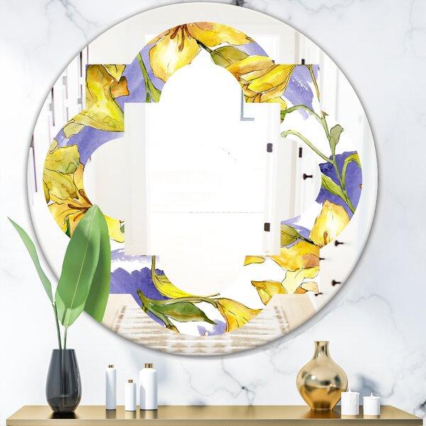 Hand Drawn Poppies V Quatrefoil Cottage Americana Frameless Wall Mirror