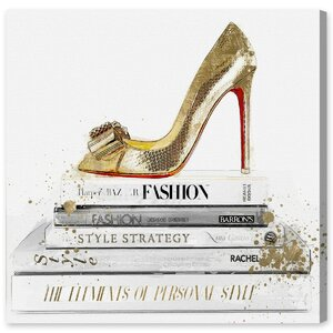 'Gold Shoe and Red Sole' Graphic Art on Wrapped Canvas by Willa Arlo Interiors