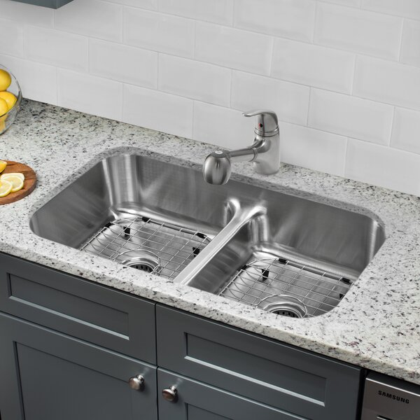 32.5 L x 18.13 W Double Bowl Undermount Kitchen Sink with Low Divider and Faucet by Soleil