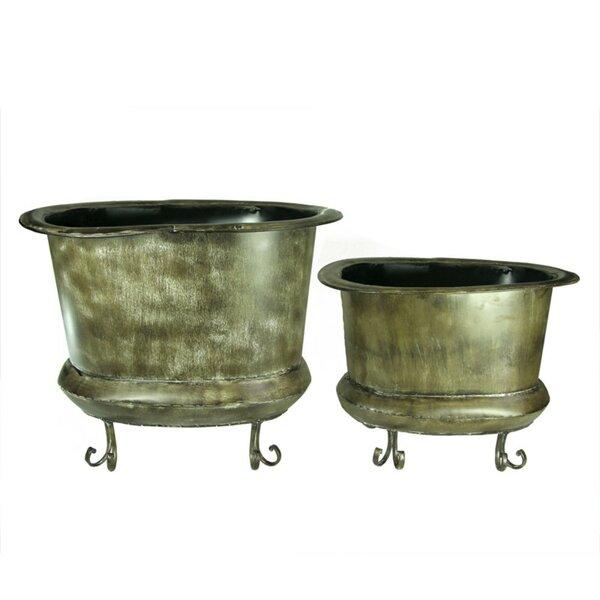 Gowins Old Style 2-Piece Metal Pot Planter Set by Fleur De Lis Living