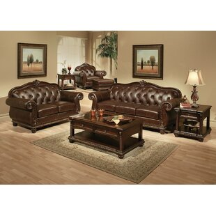 4 Piece Genuine Leather Living Room Set by Clc