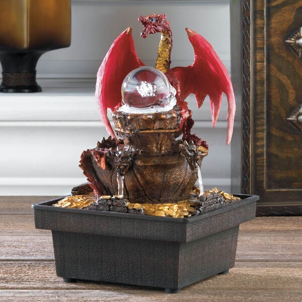Acrylic Red Dragon Tabletop Plastic Water Fountain with LED Light by Zingz & Thingz