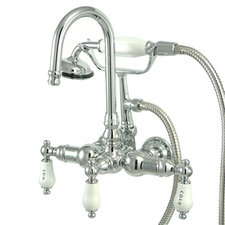 Vintage Triple Handle Wall Mounted Clawfoot Tub Faucet Trim By Kingston Brass
