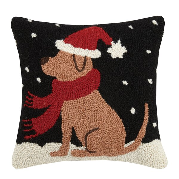 Fogg Dog in Snow Hook Wool Throw Pillow by The Holiday Aisle