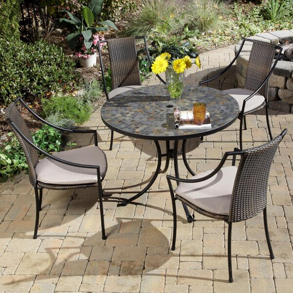 Sequoyah 5 Piece Dining Set with Cushions by Loon Peak