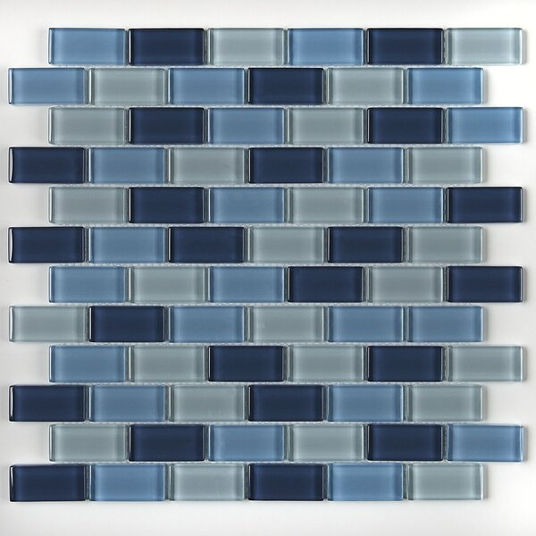 Geneva Brick Joint 12 x 13 Glass Mosaic Tile in Winter Blues by Itona Tile