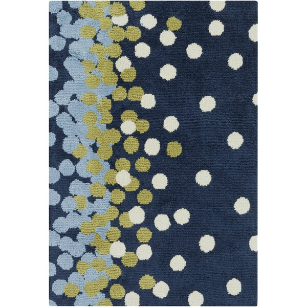 Clive Navy/Sky Blue Area Rug by Harriet Bee