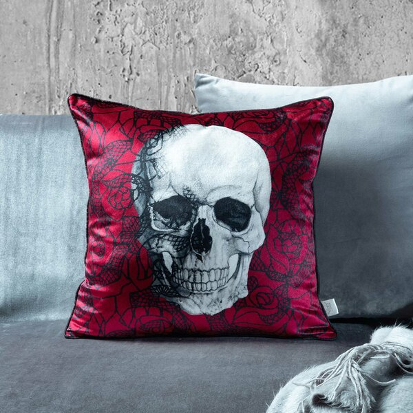 Scarlet Skull Throw Pillow by The Holiday Aisle