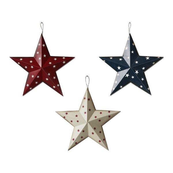 "Craft Supply Ornaments Farmhouse Lot of 3 Primitive Black 3.5/"" Barn Stars"