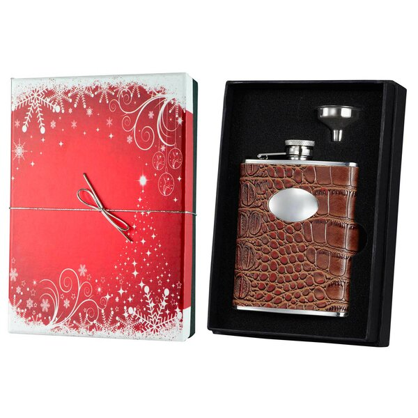 Leather Holiday Essential 6 Oz. Liquor Flask Gift Set by Visol Products