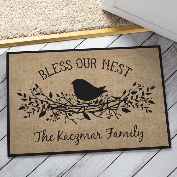 Huebner Bless our Nest Personalized Doormat by August Grove