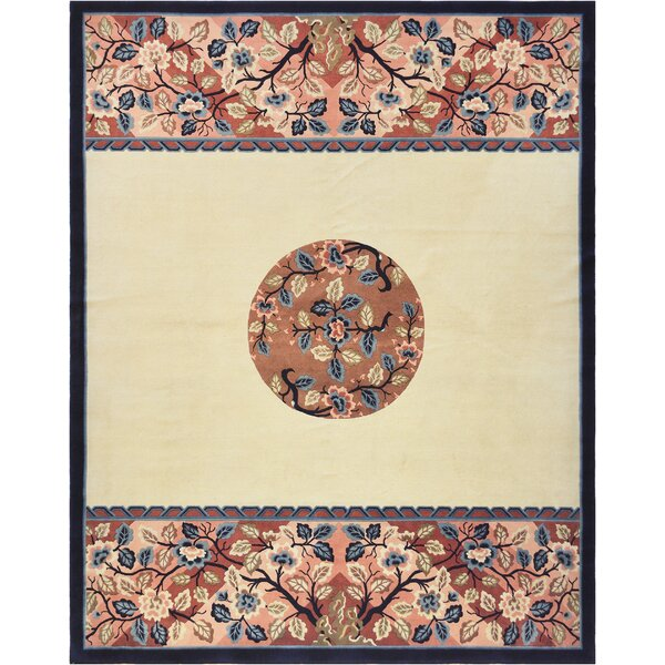 One-of-a-Kind Fine Hand-Knotted Wool Ivory Indoor Area Rug by Mansour