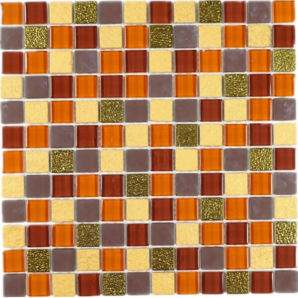 1 x 1 Glass Tile in Brown/Gray by Multile