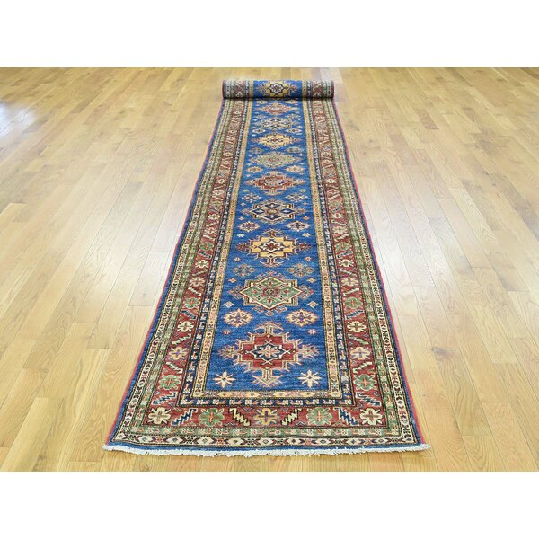 One-of-a-Kind Berend Kazak Handwoven Blue Wool Area Rug by Isabelline