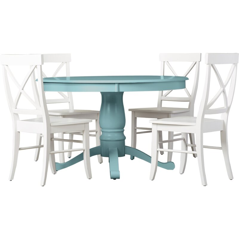 New Beachcrest Home Stock Island 5 Piece Pedestal Dining Set & Reviews  RT37