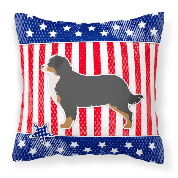 Patriotic USA Bernese Mountain Dog Indoor/Outdoor Throw Pillow by The Holiday Aisle