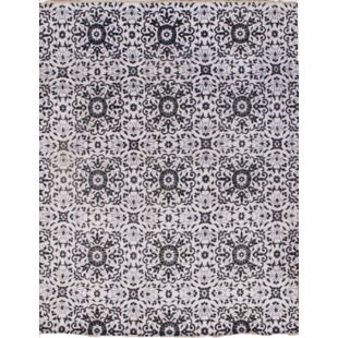 Compare Hand-Knotted Wool Ivory/Black Area Rug ByPasargad NY