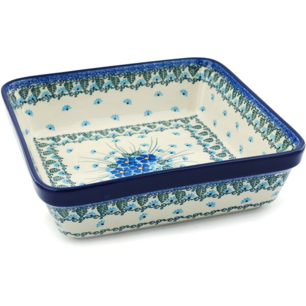 Forget Me Not Square Non-Stick Polish Pottery Baker by Polmedia