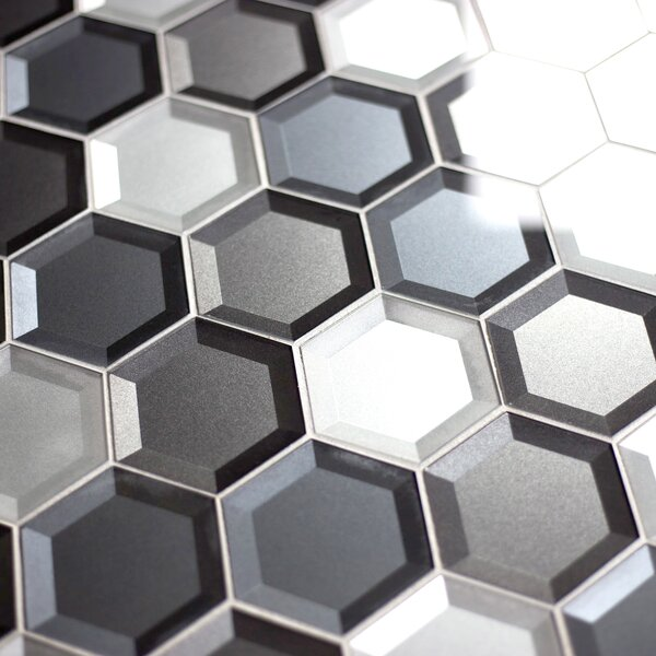 Secret Dimensions 3 x 3 Glass Mosaic Tile in Cool Gray by Abolos