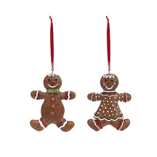 2 piece candy cane kitchen gingerbread boy and girl hanging figurine set