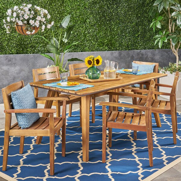 Britt 7 Piece Teak Dining Set by Millwood Pines