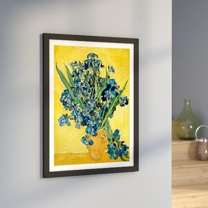 'Vase With Irises Against a Yellow Background' by Vincent van Gogh Graphic Art Print by East Urban Home