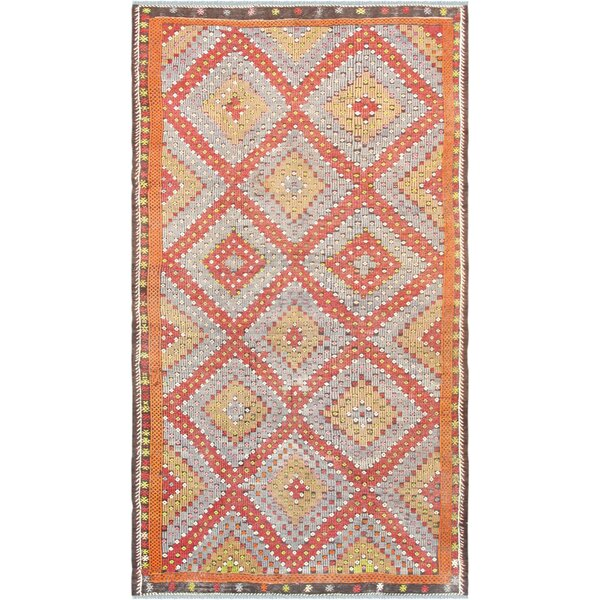 Vintage Kilim Hand-Woven Wool Rust/Beige Area Rug by Pasargad