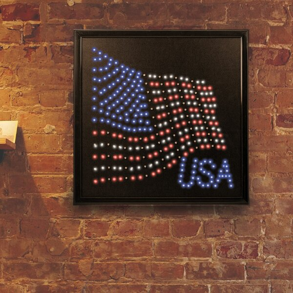 Framed USA American Flag LED Marquee Sign by Crystal Art Gallery
