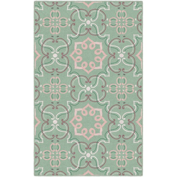 Yoselin Ornamental Medallion Green Area Rug by Winston Porter
