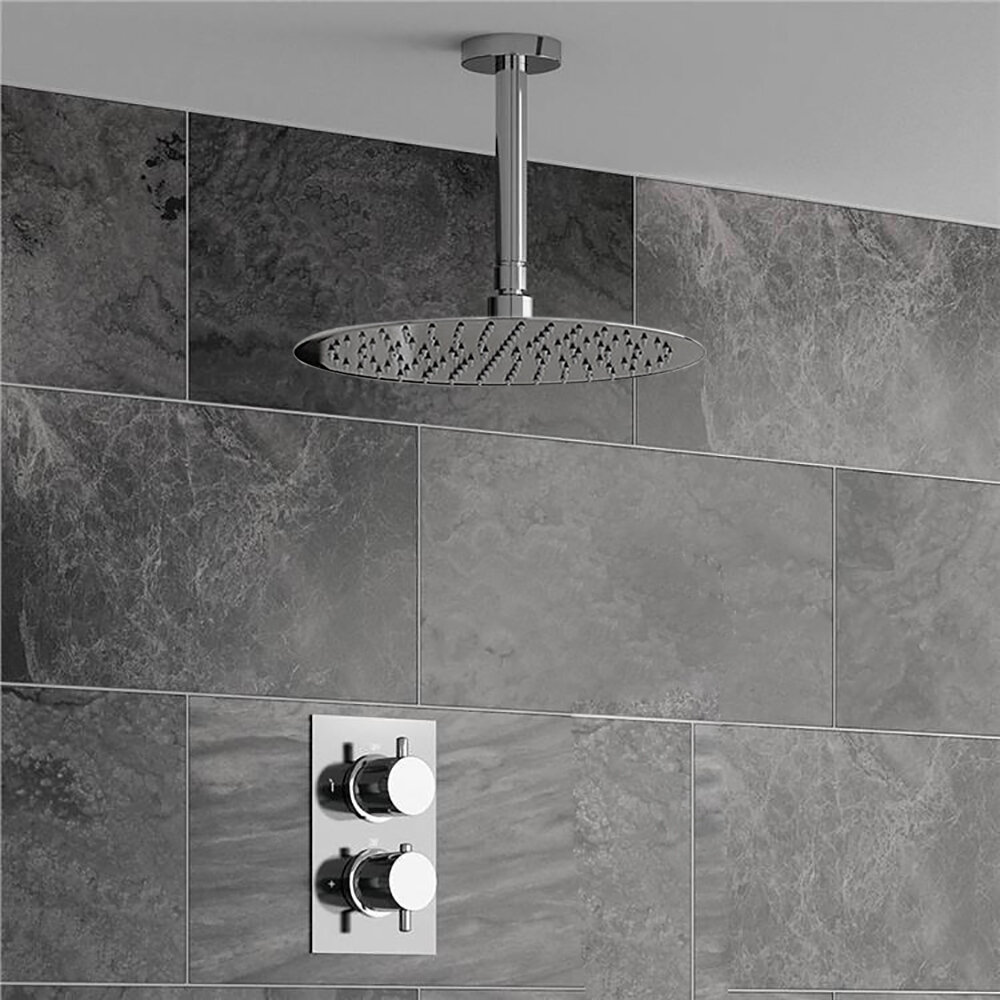 Fontanashowers Ultra Thin Head Thermostatic Complete Shower System With Rough In Valve Wayfair