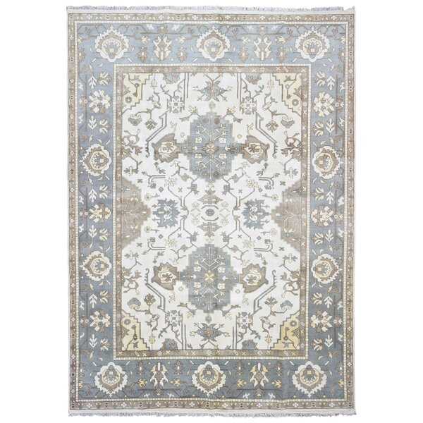 One-of-a-Kind Finadeni Hand-Knotted Wool Blue/Beige Area Rug by Isabelline