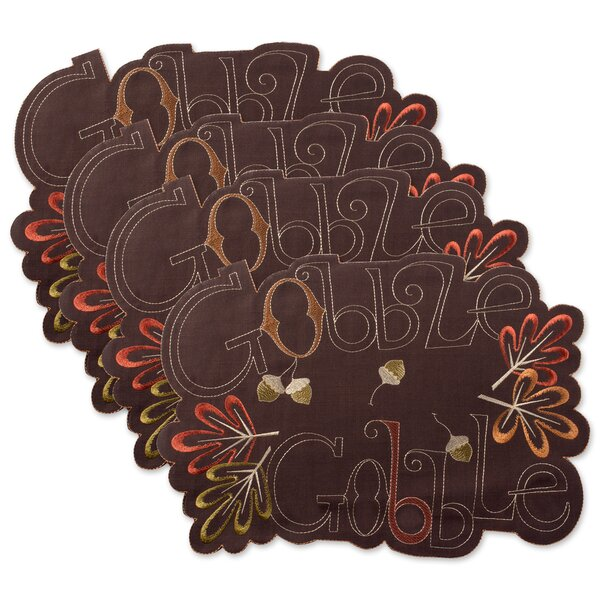 Mccardle Embroidered Gobble Kitchen 19 Placemat (Set of 4) by The Holiday Aisle