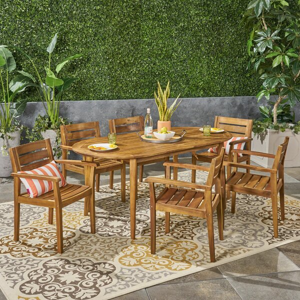 Macaulay Outdoor 7 Piece Dining Set by Longshore Tides
