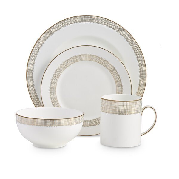 Gilded Weave 4 Piece Bone China Place Setting Set, Service for 1 by Vera Wang