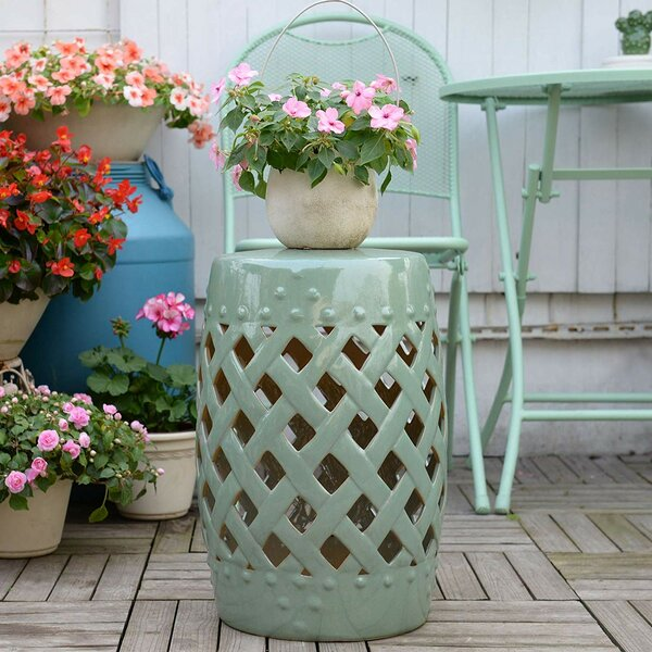 Tillia Ceramic Lattice Garden Stool by August Grove