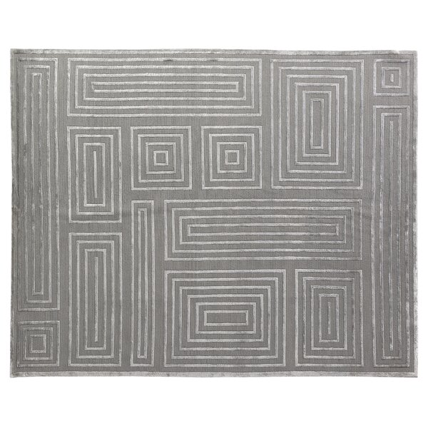 Metro Moreno Hand-Knotted Wool Silver Area Rug by Exquisite Rugs