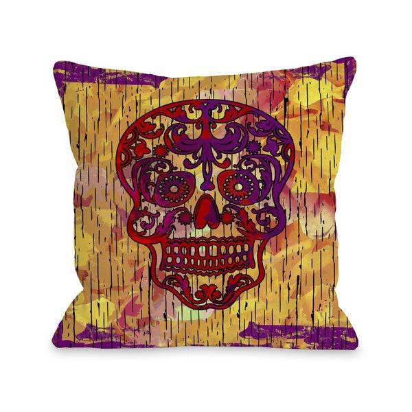 Dia De Los Muertos Skull Throw Pillow by One Bella Casa