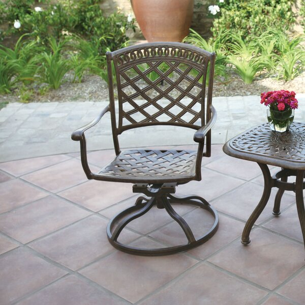 Lenahan Swivel Patio Dining Chair with Cushion by Alcott Hill