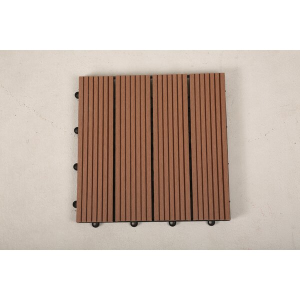 12 x 12 Composite Interlocking Deck Tile in Mocha